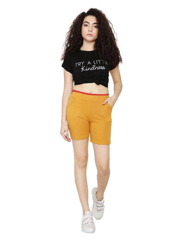 Stylish Hosiery Golden Solid Two Side Pockets Shorts For Women - Trend Eve