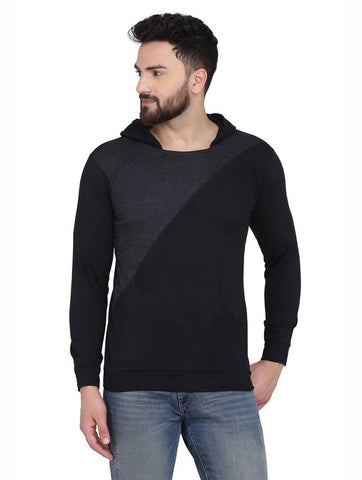 Men's Black Cotton Blend Hoodie with Cross Styling - Trend Eve