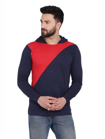 Men's Navy Cotton Blend Hoodie with Cross Styling - Trend Eve