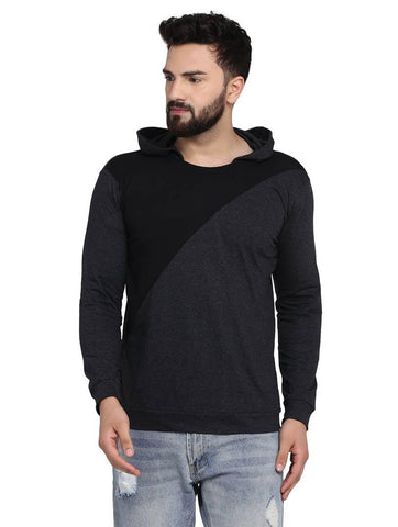 Men's Dark Grey Cotton Blend Hoodie with Cross Styling - Trend Eve