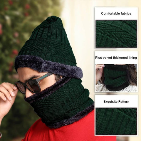 Beanie Cap and Scarf Cold Warm Fur Winter Hat for Men, Knitted Hat Bonnet Warm Cap Skullies Beanies