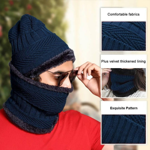 Beanie Cap and Scarf Cold Warm Fur Winter Hat for Women, Knitted Hat Bonnet Warm Cap Skullies Beanies