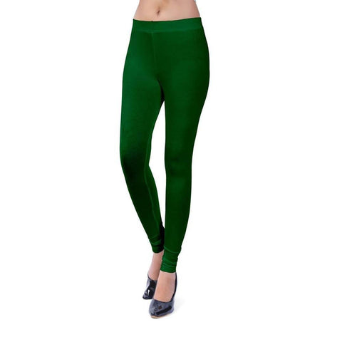 Green Cotton Spandex Free Size Leggings - Trend Eve