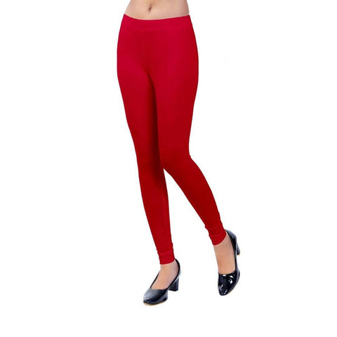 Red Cotton Spandex Free Size Leggings - Trend Eve