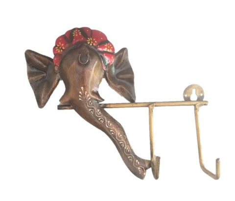Wrought Iron Handicraft 2 Key Holder Ganesha Wall Hanging Showpiece (Set of 1 Psc) - Trend Eve