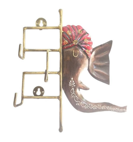 Wrought Iron Handicraft 2 Key Holder Ganpati Wall Hanging Showpiece (Set of 1 Psc) - Trend Eve