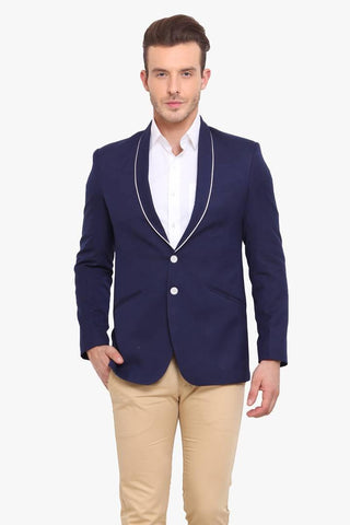 Fashionable Navy Blue Polyviscose Jacket For Men