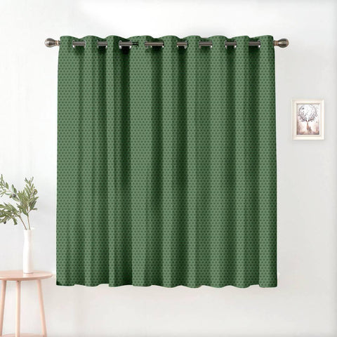 Premium Polyester Green Printed Window Curtains (Pack Of 1)
