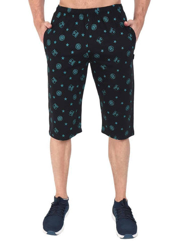 Men's Cotton Printed Three Fourth Capri