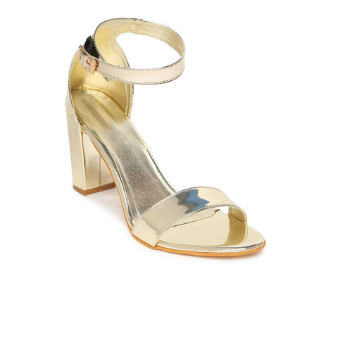 Stylish Synthetic Leather Golden Solid Block Heel Sandal For Women - Trend Eve