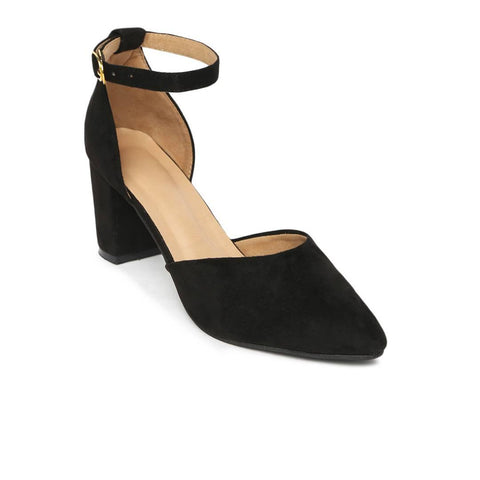 Stylish Velvet Black Solid Block Heel Sandal For Women - Trend Eve