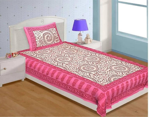 Floral Cotton Bedsheets With One Pillow Cover - Trend Eve