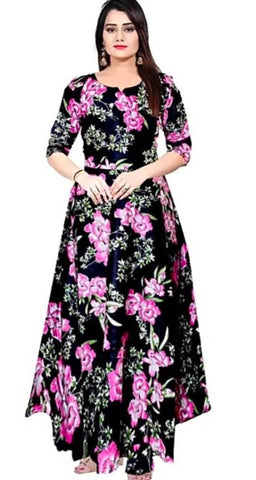 Women's Rayon Floral Print Gown - Trend Eve