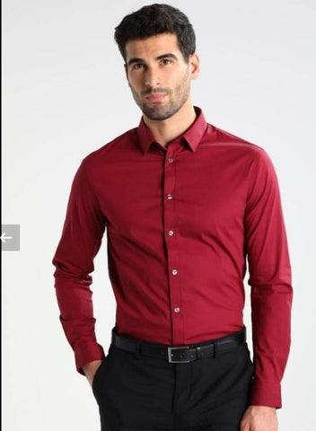 Men's Cotton Solid Long Sleeve Formal Shirt - Trend Eve