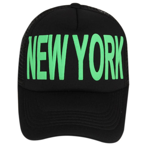 Stylish Black With Green Printed New York Mesh Baseball Cap For Men - Trend Eve