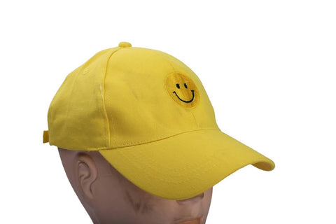 Stylish Cotton Yellow Smile Smiley Baseball Cap For Unisex - Trend Eve