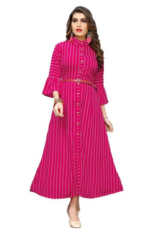 Women's Crepe Striped Gown - Trend Eve