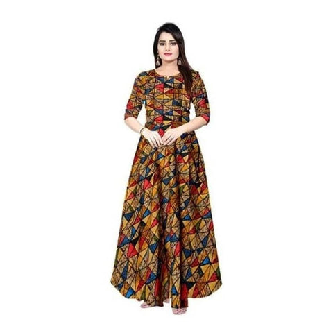 Women Rayon Printed Ethnic Gown - Trend Eve