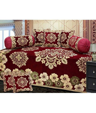 Chenille diwan set of floral print with 1 single bedsheet, 2 bolsters & 5 cushion cover - Trend Eve