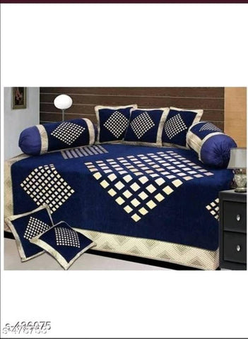 Chenille diwan set of diamond print with 1 single bedsheet, 2 bolsters & 5 cushion cover - Trend Eve