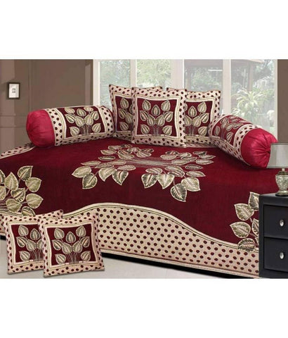 Chenille diwan set of leaf print with 1 single bedsheet, 2 bolsters & 5 cushion cover - Trend Eve