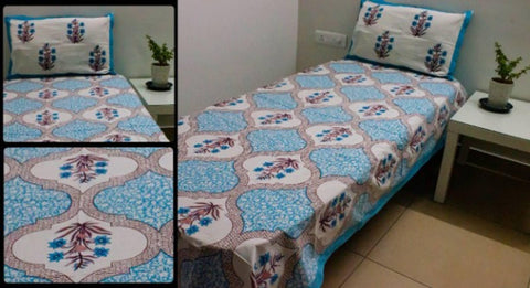 FasHome Cotton Printed Single Bedsheet with One Pillow Cover - Trend Eve