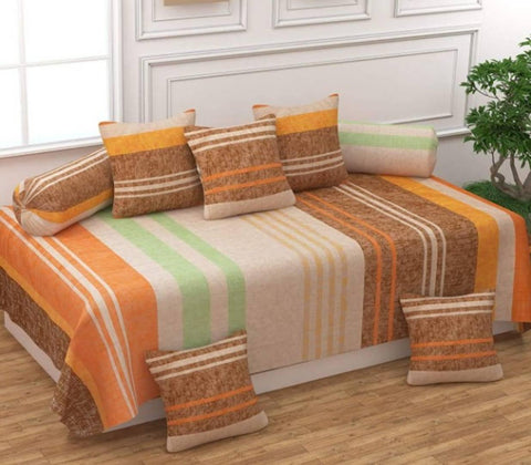 Stylish Glace Cotton Diwan Set (1 bedsheet, 2 Bolster Cover & 5 Cushion Covers) - Trend Eve