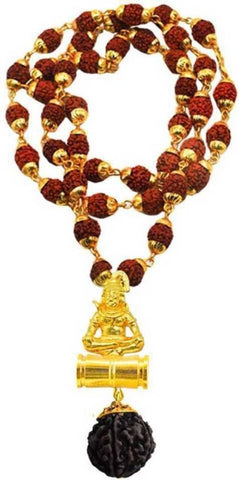 Shiv Rudraksha Studded Chain With Trishul Om Beads Gold-plated Plated Brass Chain