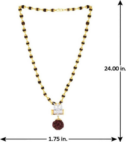 Rudraksh Silver Plated Rudraksha/Trishul/Damru Inspired Mala Pendant Set For Men  Silver-plated Plated Brass Chain