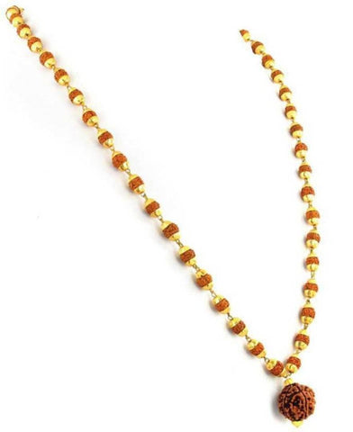 Panchmukhi Rudraksha Mala Beads Gold-plated Plated Brass, Wood Chain