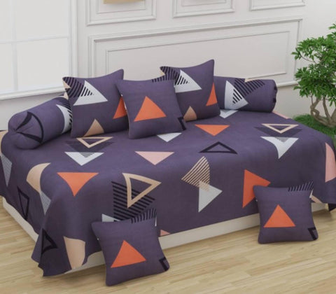 Unique Patterns Diwan Set Covers 8 Pcs Set of 1 Bedsheet 2 Bolsters and 5 Cushion Covers - Trend Eve