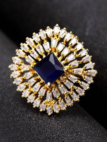 Adjustable Designer Gold Plated American Diamond Cocktail Partywear Ring - Trend Eve