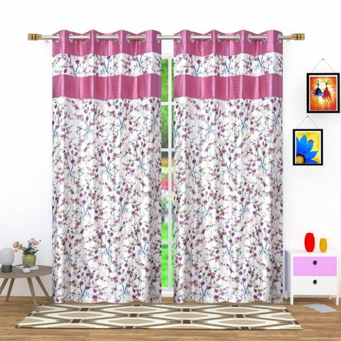 Heavy Polyester Flower Print Eyelet Curtains Set of 2 - Trend Eve