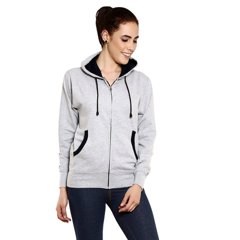 GOODTRY Women's Cotton Hoodies-Grey Melange - Trend Eve