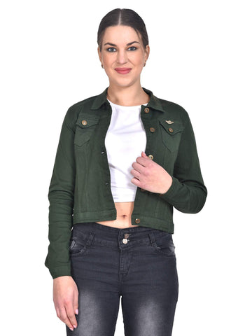 Sangani Women's Cotton Stretch Casual Jacket (Military Green, 38) - Trend Eve