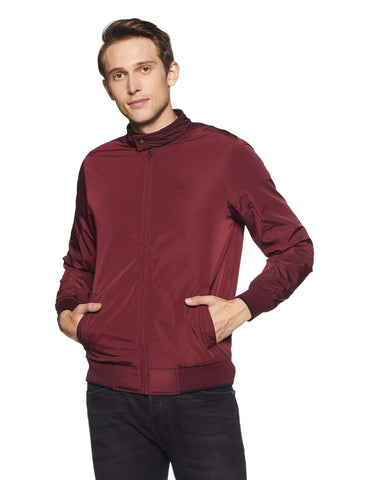 Allen Solly Men's Jacket (ASJKOBOPW74925_Wine_M) - Trend Eve