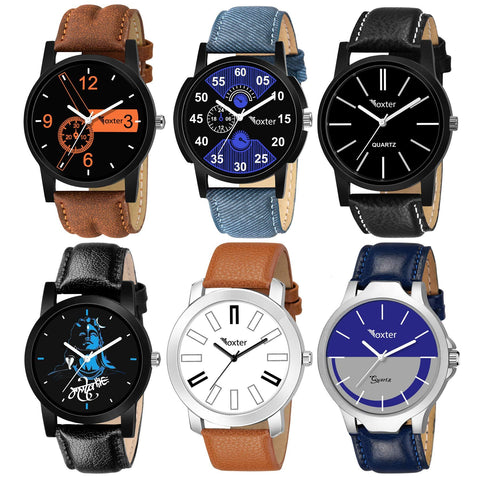 Foxter Pack of 6 Multicolour Analog Analog Watch for Men and Boys - Trend Eve