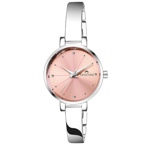 SWISSTONE Analogue Pink Dial Silver Plated Bracelet Women's Wrist Watch - Trend Eve