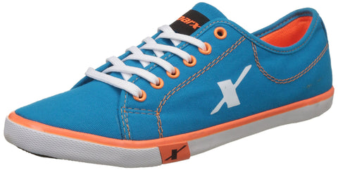 Sparx Men's Blue, Turkey and Orange Canvas Sneakers - 9 UK/India (43 EU)(SC0283G) - Trend Eve