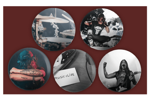 Rock Music Button Badges (Pack of 5)