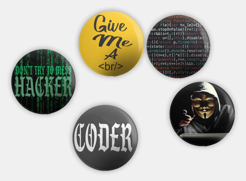 Techie Button Badges (Pack of 5)