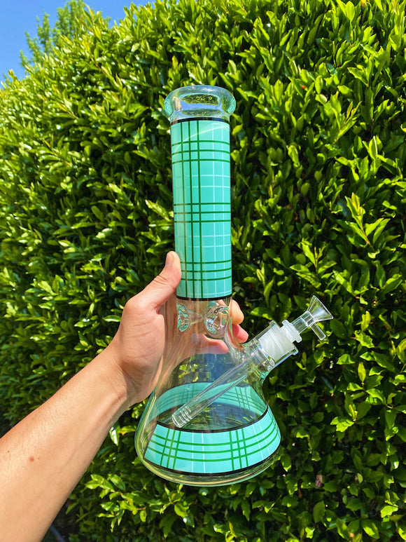 12inch Turquoise Plaid Bong Bongs Owl Pack