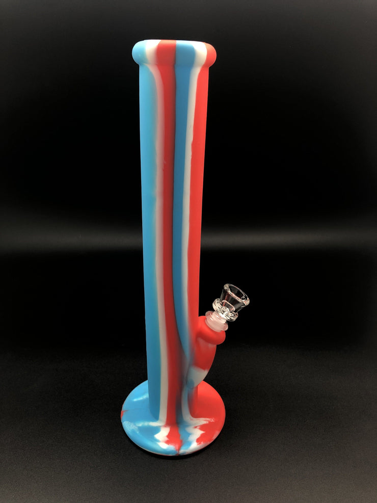 14inch BREAKPROOF Silicone Straight Tube Bong Bongs Space Smoke Shop Red/Blue