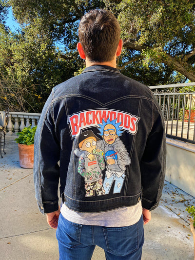 Black Custom R&M Jean Jacket Clothing Owl Pack