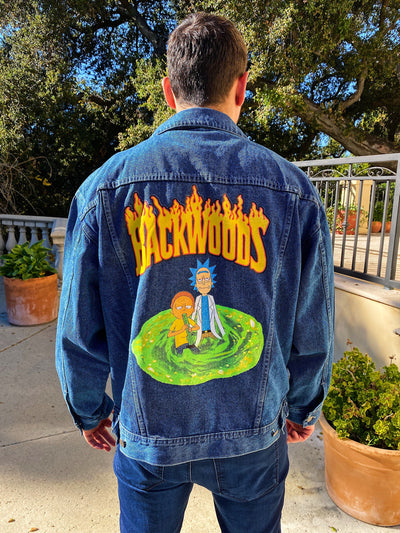 Custom R&M Jean Jacket Clothing Owl Pack