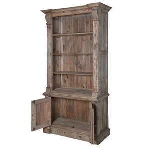 Colonial Reclaimed Pine Bookcase with Cupboard