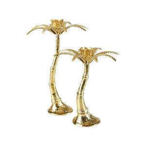 Palm Tree Candle Holder Brass Small