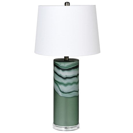 Green Marble Effect Lamp with White Shade