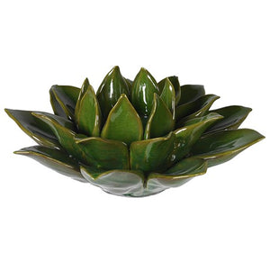 Green Flower Ceramic T-Light Holder