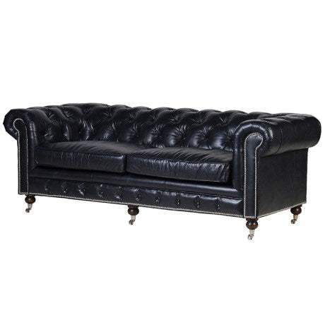 Black Leather 3 Seater Chesterfield